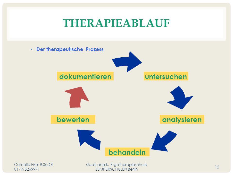 THERAPIEABLAUF Der therapeutische Prozess Cornelia Eßer B.Sc.OT 0179/5269971 staatl.anerk.