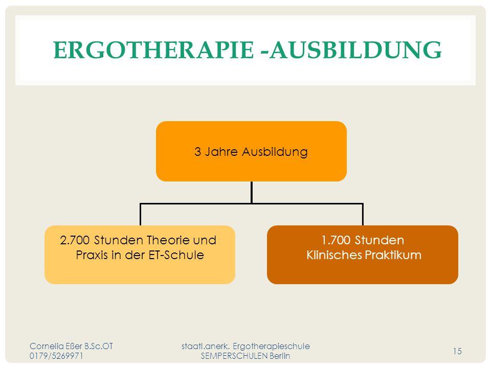 ERGOTHERAPIE -AUSBILDUNG Cornelia Eßer B.Sc.OT 0179/5269971 staatl.anerk.