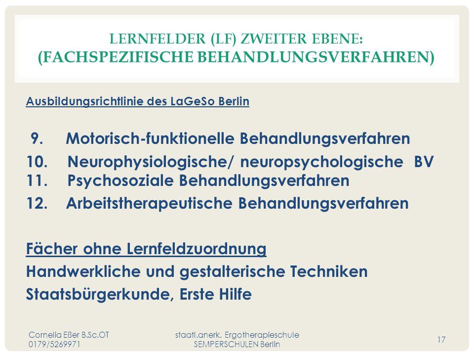 LERNFELDER (LF) ZWEITER EBENE: (FACHSPEZIFISCHE BEHANDLUNGSVERFAHREN) Ausbildungsrichtlinie des LaGeSo Berlin 9. Motorisch-funktionelle Behandlungsver