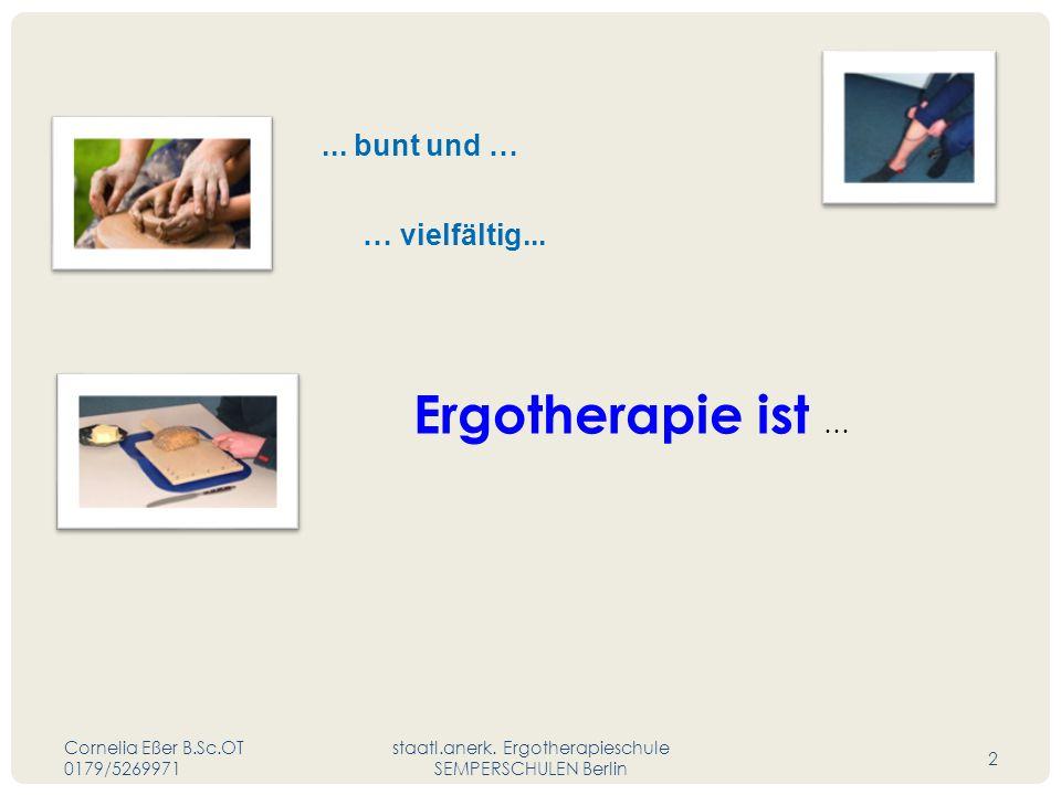 ... bunt und … Ergotherapie ist … … vielfältig... Cornelia Eßer B.Sc.OT 0179/5269971 staatl.anerk. Ergotherapieschule SEMPERSCHULEN Berlin 2