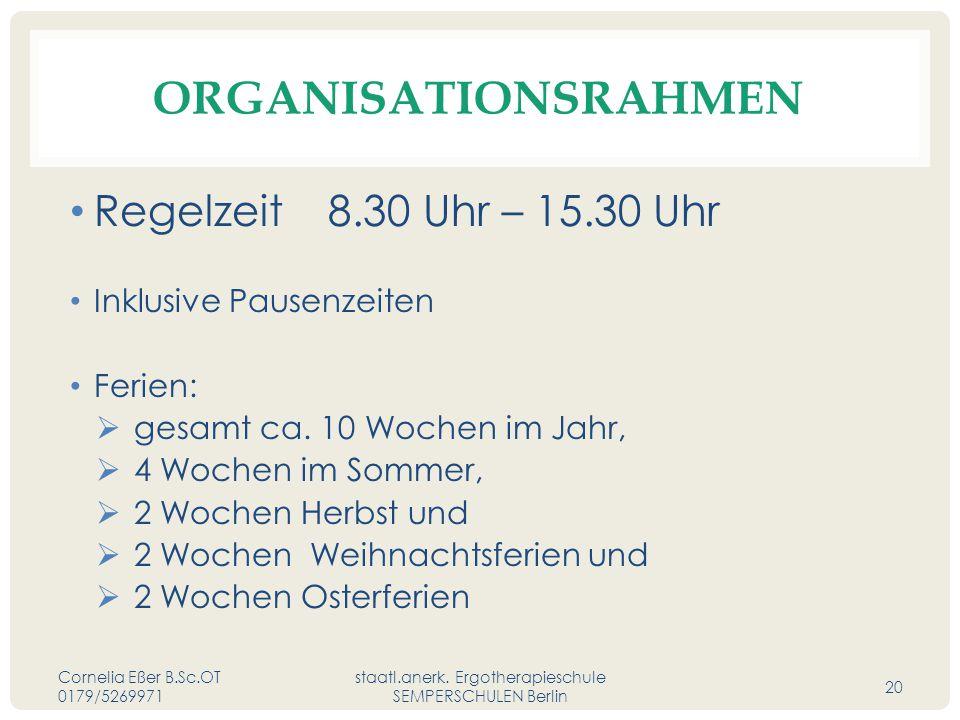 ORGANISATIONSRAHMEN Regelzeit 8.30 Uhr – 15.30 Uhr Inklusive Pausenzeiten Ferien:  gesamt ca.