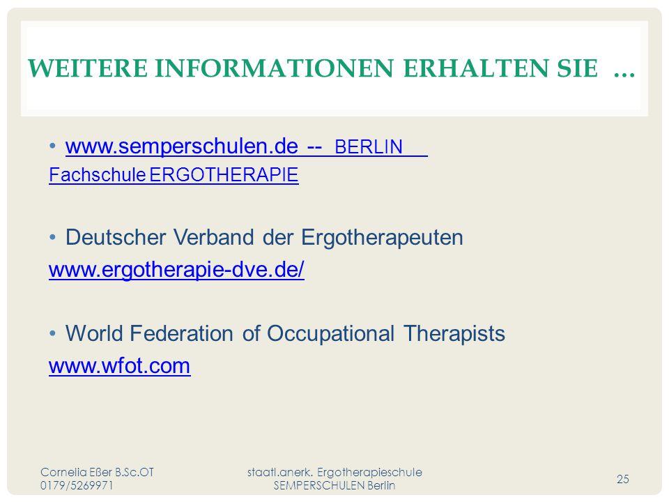 WEITERE INFORMATIONEN ERHALTEN SIE … www.semperschulen.de -- BERLIN __www.semperschulen.de Fachschule ERGOTHERAPIE Deutscher Verband der Ergotherapeuten www.ergotherapie-dve.de/ World Federation of Occupational Therapists www.wfot.com Cornelia Eßer B.Sc.OT 0179/5269971 staatl.anerk.
