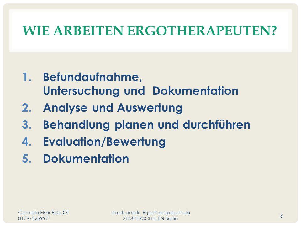 WIE ARBEITEN ERGOTHERAPEUTEN? 1. Befundaufnahme, Untersuchung und Dokumentation 2. Analyse und Auswertung 3. Behandlung planen und durchführen 4. Eval
