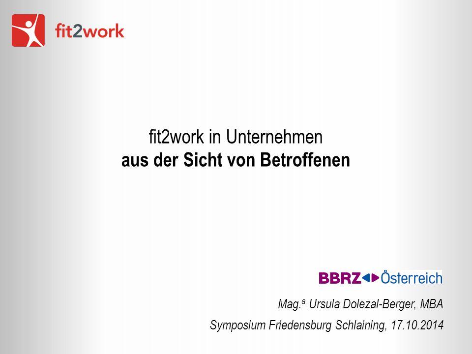 fit2work in Unternehmen aus der Sicht von Betroffenen Mag. a Ursula Dolezal-Berger, MBA Symposium Friedensburg Schlaining, 17.10.2014