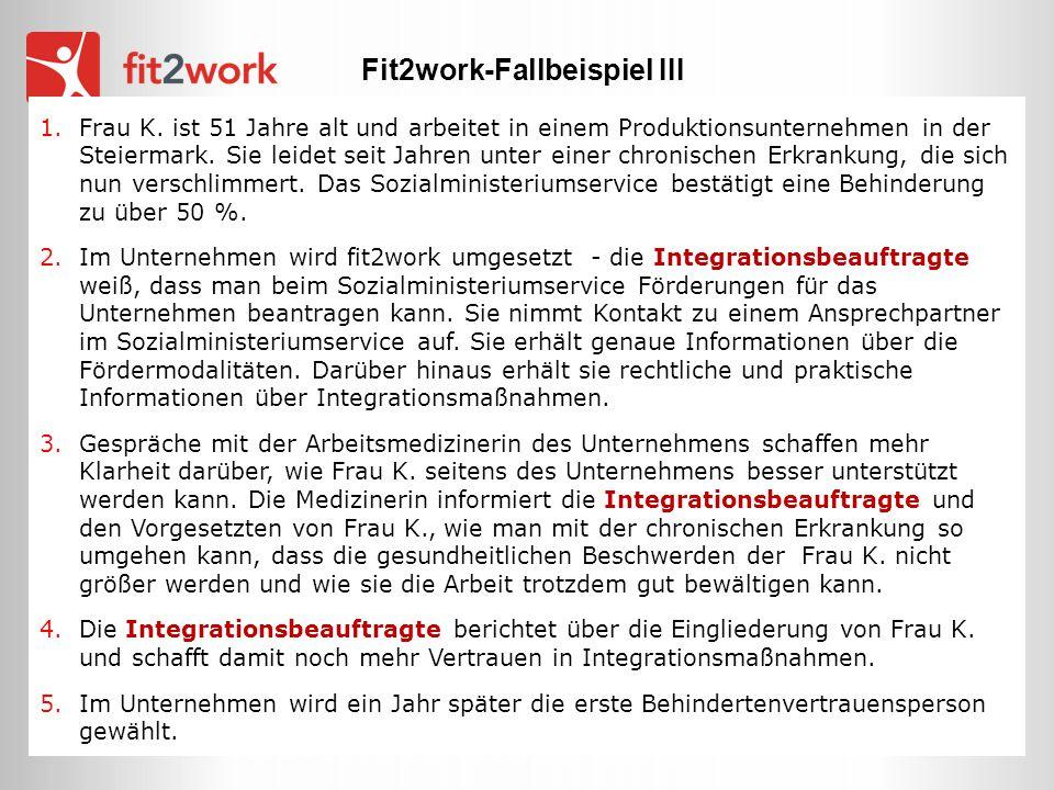 1.Frau K. ist 51 Jahre alt und arbeitet in einem Produktionsunternehmen in der Steiermark. Sie leidet seit Jahren unter einer chronischen Erkrankung,