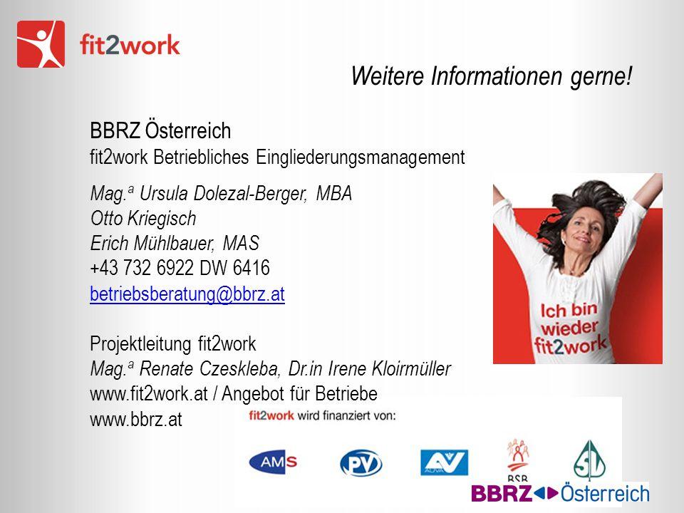 Weitere Informationen gerne! BBRZ Österreich fit2work Betriebliches Eingliederungsmanagement Mag. a Ursula Dolezal-Berger, MBA Otto Kriegisch Erich Mü