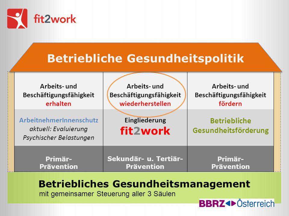 Betriebliches Gesundheitsmanagement mit gemeinsamer Steuerung aller 3 Säulen Arbeits- und Beschäftigungsfähigkeit erhalten Arbeits- und Beschäftigungs