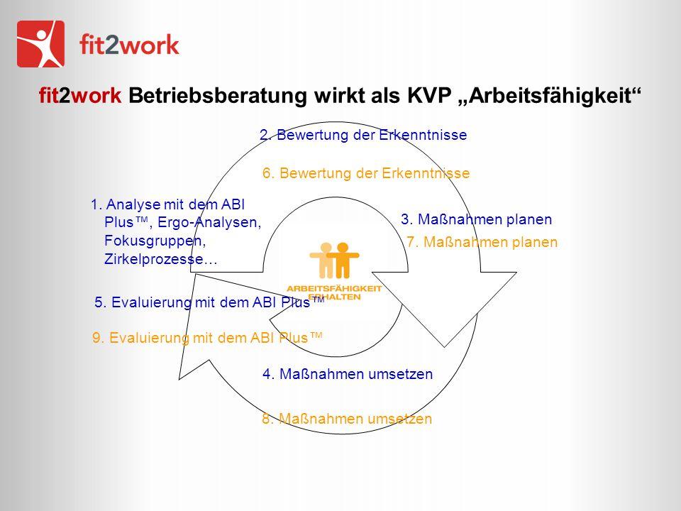 5 Bausteine von Fit2work 1 Managementsystem 1.Integrationsbeauftragte 2.Integrationsteam (Geschäftsführung, Belegschaftsvertretung, Arbeitsmedizin und andere Präventivfachkräfte, HR-Management …) 3.Praktisches Wissen über Förderungen und finanzielle Unterstützungsmöglichkeiten im Unternehmen verankern 4.Befragung – Arbeitsfähigkeit von Mitarbeitergruppen 5.Evaluierung mit 2.
