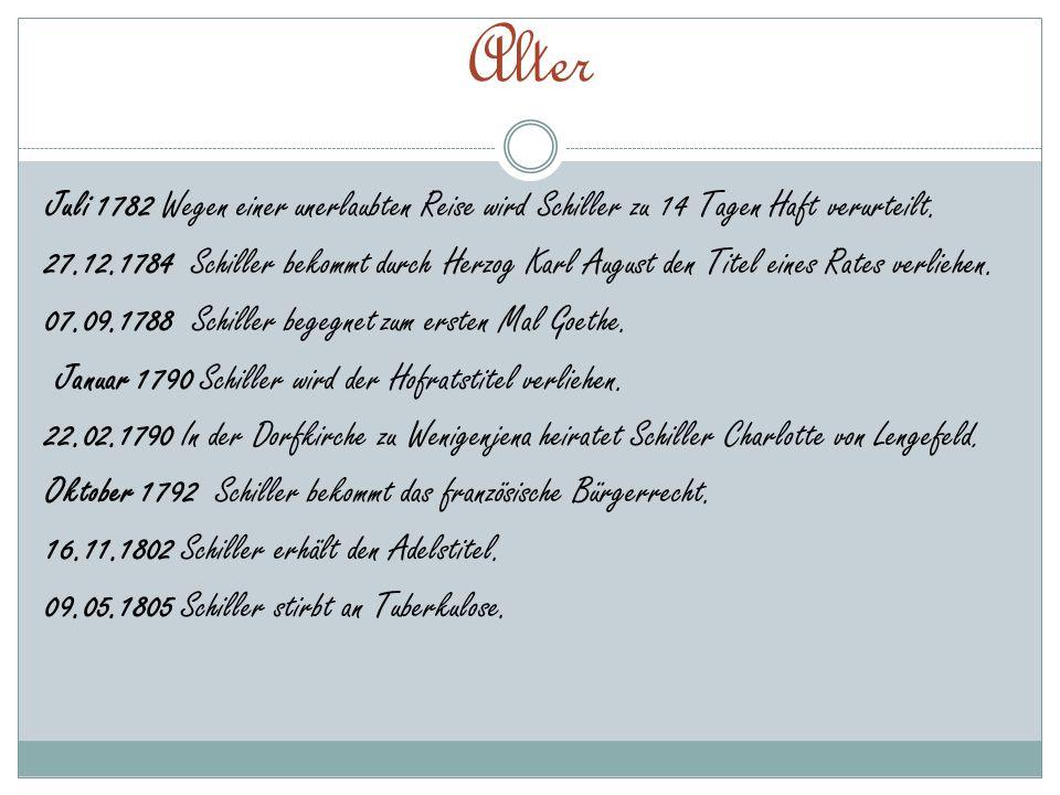 Alter Juli 1782 Wegen einer unerlaubten Reise wird Schiller zu 14 Tagen Haft verurteilt. 27.12.1784 Schiller bekommt durch Herzog Karl August den Tite