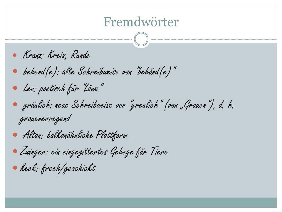 """Fremdwörter Kranz: Kreis, Runde behend(e): alte Schreibweise von behänd(e) Leu: poetisch für Löwe gräulich: neue Schreibweise von greulich (von """"Grauen ), d."""