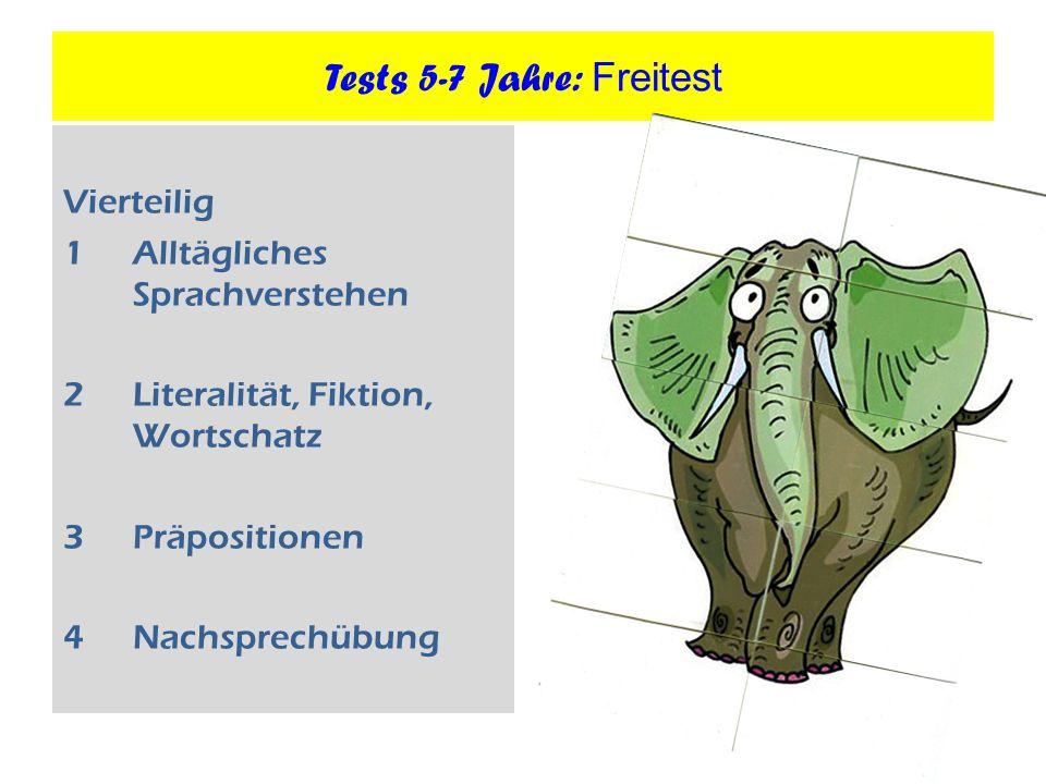 Tests 5-7 Jahre: Freitest Vierteilig 1Alltägliches Sprachverstehen 2Literalität, Fiktion, Wortschatz 3Präpositionen 4Nachsprechübung