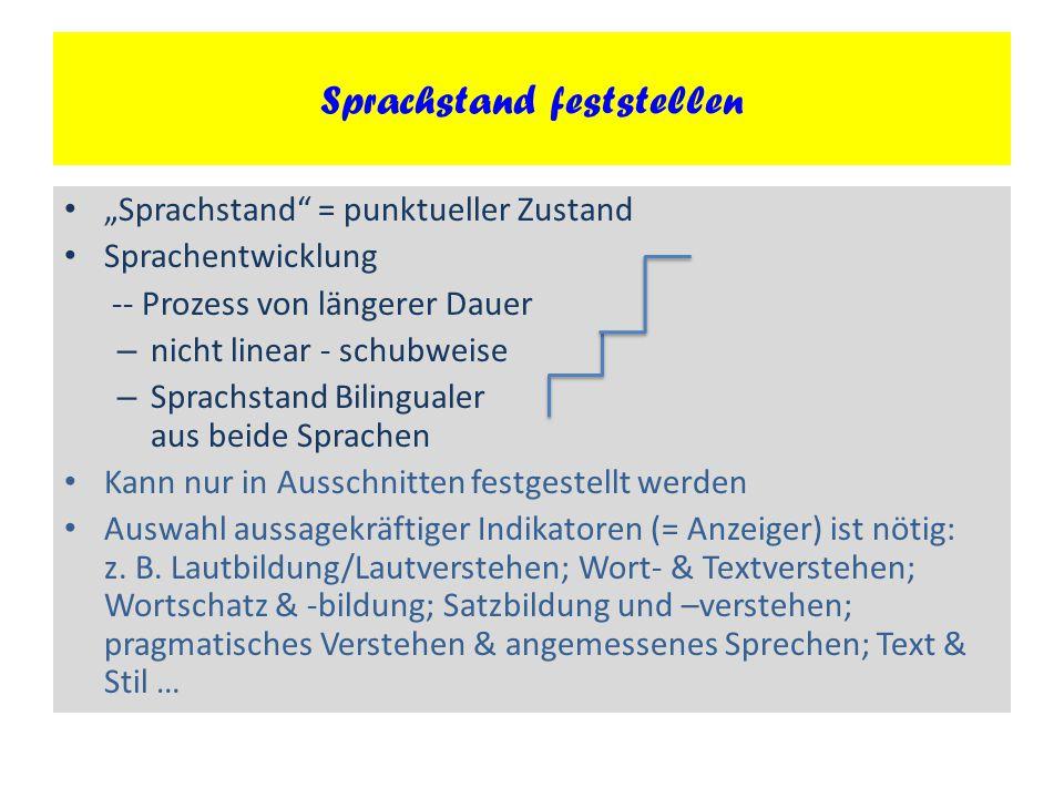 """""""Sprachstand"""" = punktueller Zustand Sprachentwicklung -- Prozess von längerer Dauer – nicht linear - schubweise – Sprachstand Bilingualer aus beide Sp"""