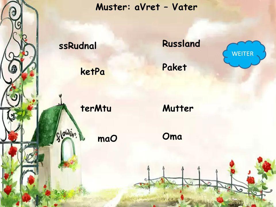 ssRudnal Russland ketPa Paket terMtuMutter maO Oma Muster: aVret – Vater WEITER