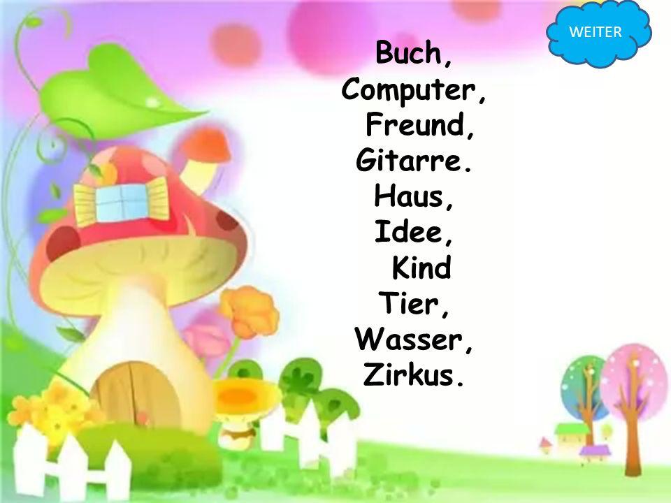 Buch, Computer, Freund, Gitarre. Haus, Idee, Kind Tier, Wasser, Zirkus. WEITER