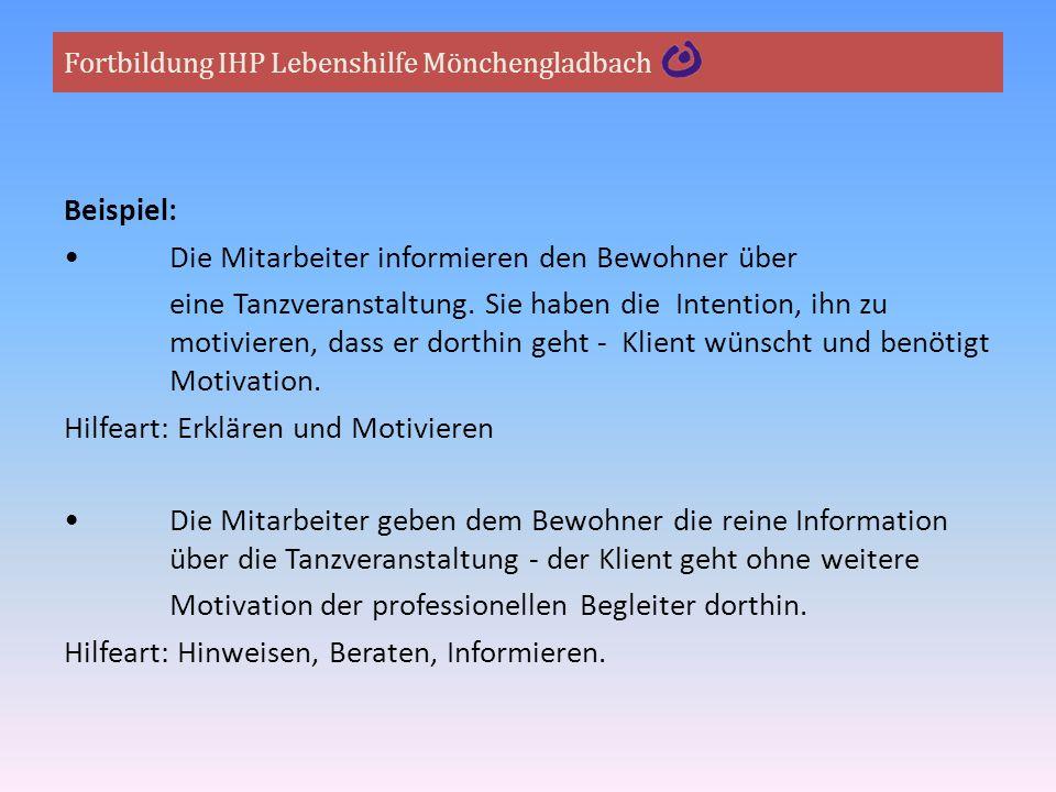 Fortbildung IHP Lebenshilfe Mönchengladbach Beispiel: Die Mitarbeiter informieren den Bewohner über eine Tanzveranstaltung. Sie haben die Intention, i