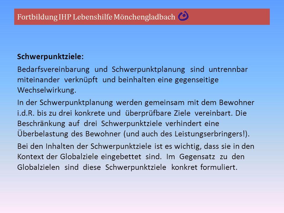 Fortbildung IHP Lebenshilfe Mönchengladbach Schwerpunktziele: Bedarfsvereinbarung und Schwerpunktplanung sind untrennbar miteinander verknüpft und bei