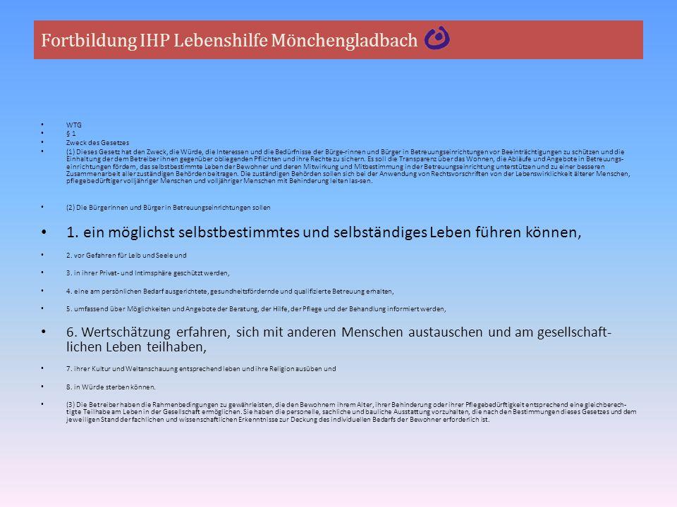 Fortbildung IHP Lebenshilfe Mönchengladbach Anlage: Merkblatt Mögliche Hilfebedarfe und Betreuungsinhalte