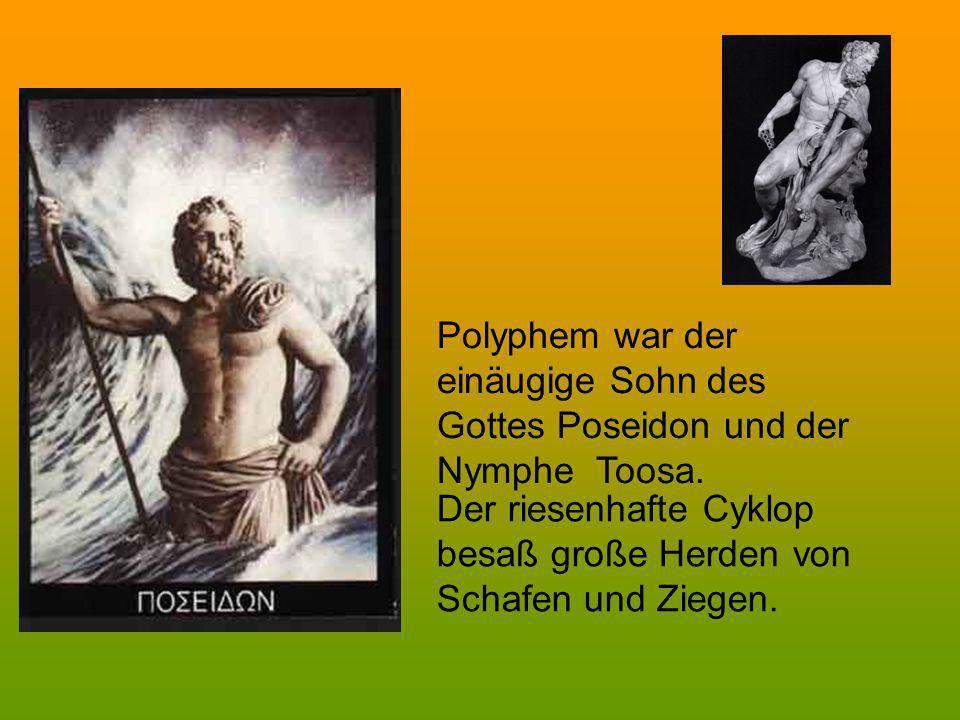 Polyphem war der einäugige Sohn des Gottes Poseidon und der Nymphe Toosa. Der riesenhafte Cyklop besaß große Herden von Schafen und Ziegen.