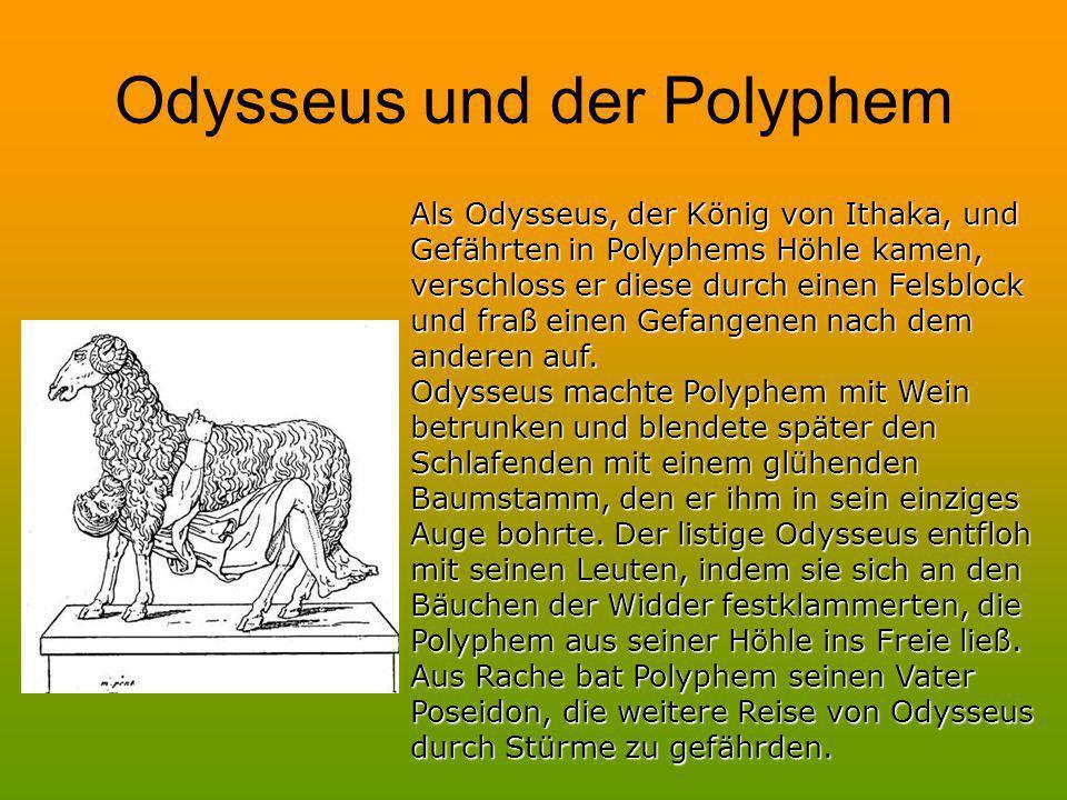 Latein:Polyphemus, ubi Graecos conspexit, statim duos ex iis necavit: Deutsch:Polyphem, sobald er die Griechen erblickte, tötete er sofort zwei von ihnen.