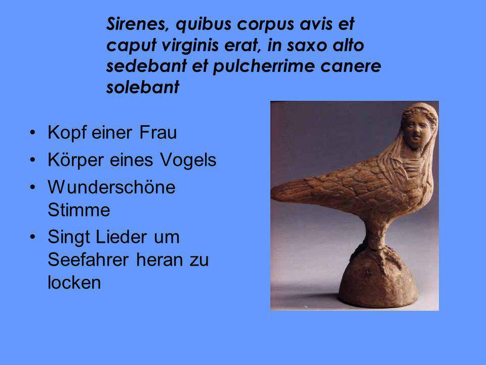 Kopf einer Frau Körper eines Vogels Wunderschöne Stimme Singt Lieder um Seefahrer heran zu locken Sirenes, quibus corpus avis et caput virginis erat,