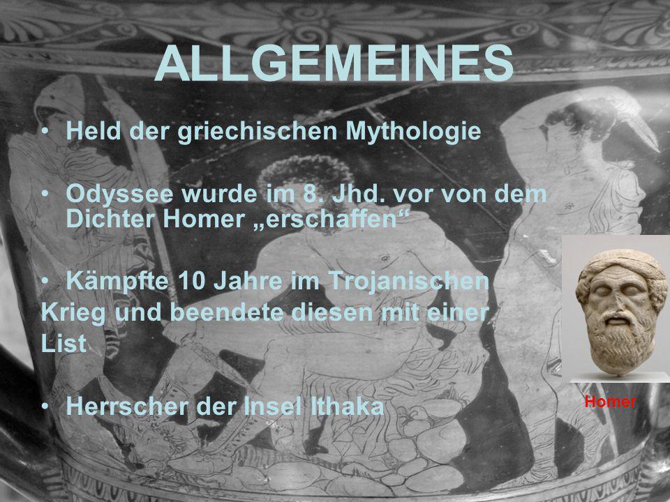 """ALLGEMEINES Held der griechischen Mythologie Odyssee wurde im 8. Jhd. vor von dem Dichter Homer """"erschaffen"""" Kämpfte 10 Jahre im Trojanischen Krieg un"""