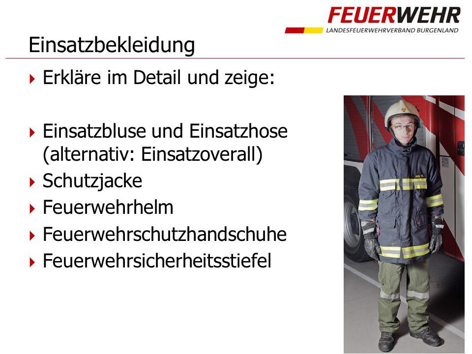 Einsatzbekleidung  Erkläre im Detail und zeige:  Einsatzbluse und Einsatzhose (alternativ: Einsatzoverall)  Schutzjacke  Feuerwehrhelm  Feuerwehrschutzhandschuhe  Feuerwehrsicherheitsstiefel