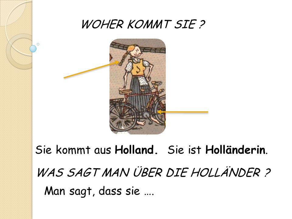WOHER KOMMT SIE ? Man sagt, dass sie …. Sie kommt aus Holland.Sie ist Holländerin. WAS SAGT MAN ÜBER DIE HOLLÄNDER ?