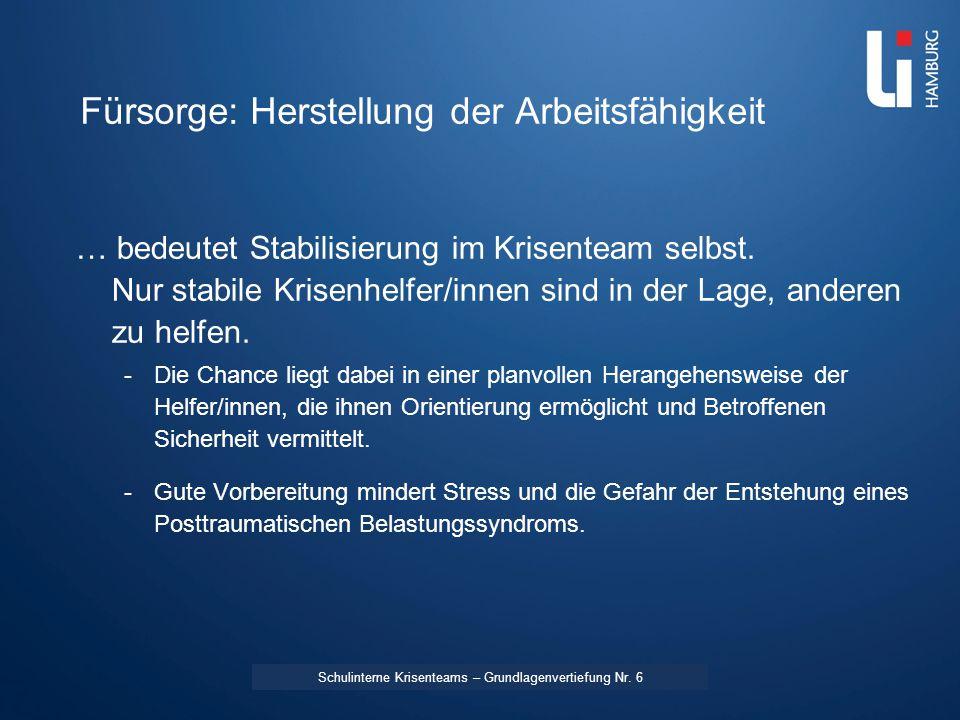 LI: Vorname Name Fürsorge: Herstellung der Arbeitsfähigkeit … bedeutet Stabilisierung im Krisenteam selbst. Nur stabile Krisenhelfer/innen sind in der
