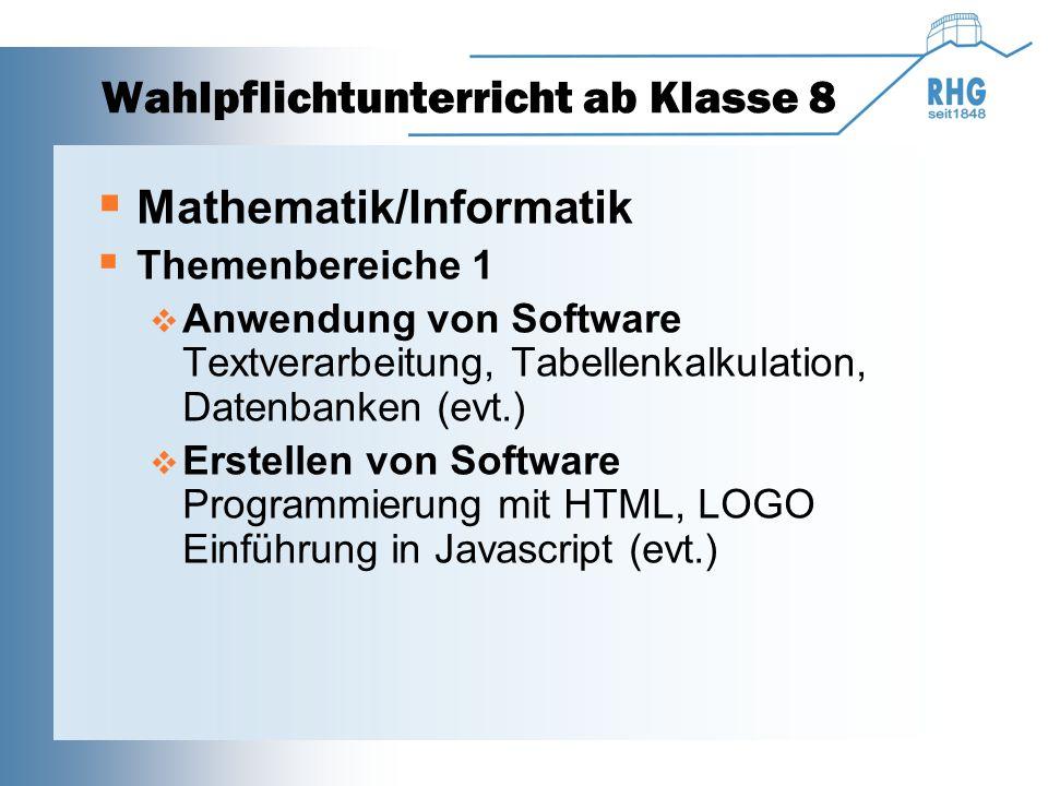 Wahlpflichtunterricht ab Klasse 8  Mathematik/Informatik  Themenbereiche 2  Hardware des Computers geschichtlicher Rückblick, Logikbausteine, log.