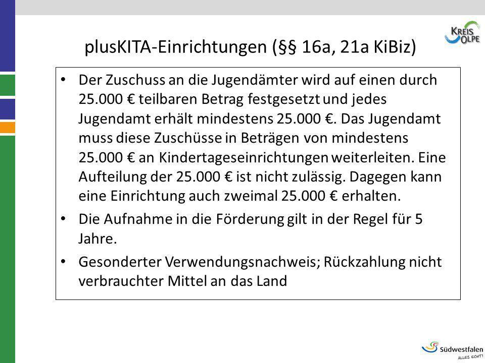 plusKITA-Einrichtungen (§§ 16a, 21a KiBiz) Der Zuschuss an die Jugendämter wird auf einen durch 25.000 € teilbaren Betrag festgesetzt und jedes Jugend