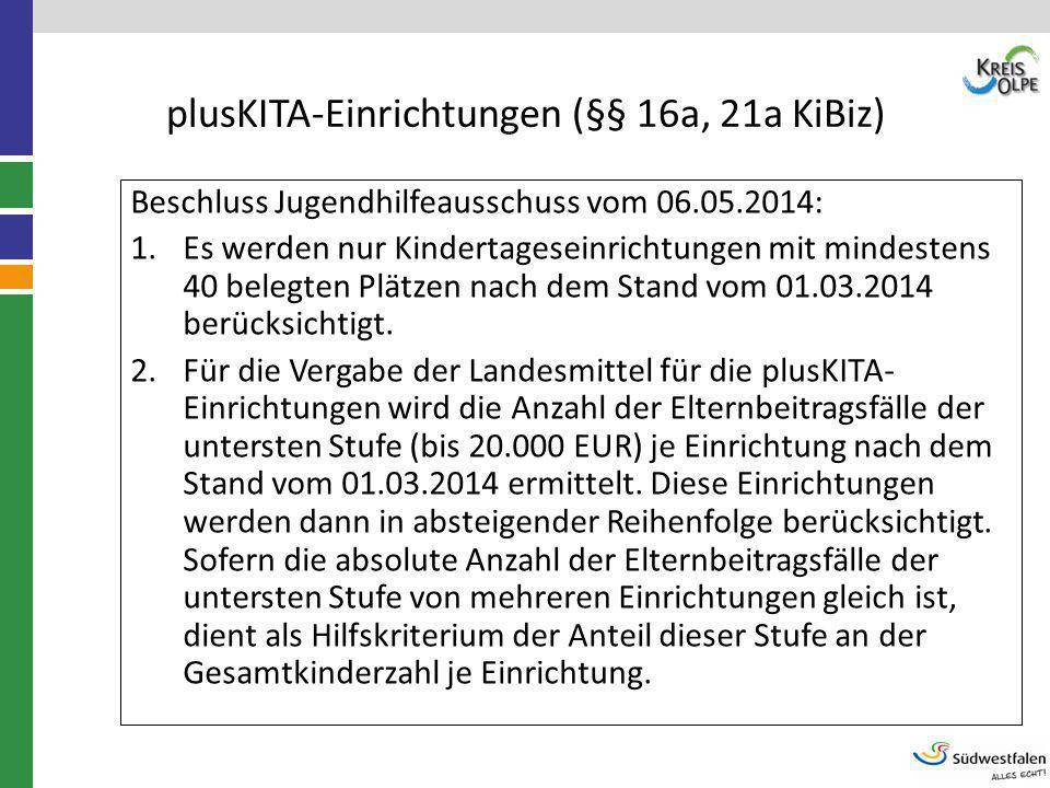 plusKITA-Einrichtungen (§§ 16a, 21a KiBiz) Beschluss Jugendhilfeausschuss vom 06.05.2014: 1.Es werden nur Kindertageseinrichtungen mit mindestens 40 b