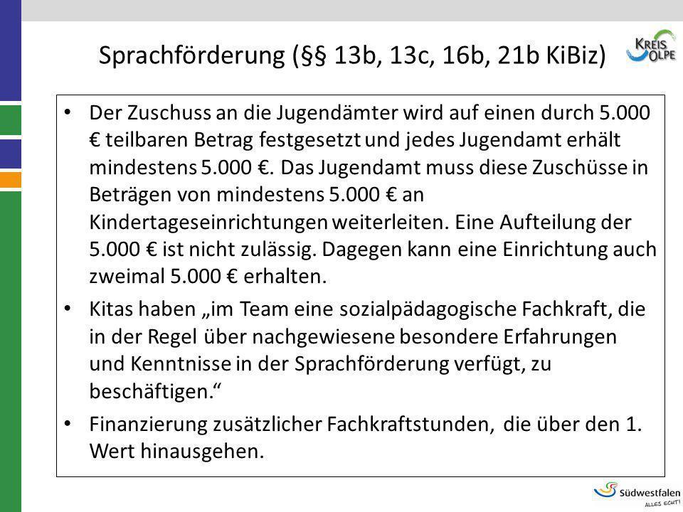 Sprachförderung (§§ 13b, 13c, 16b, 21b KiBiz) Der Zuschuss an die Jugendämter wird auf einen durch 5.000 € teilbaren Betrag festgesetzt und jedes Juge