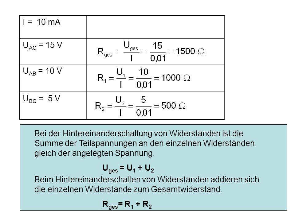 Kap.10 Elektrizität 215 I = 10 mA U AC = 15 V U AB = 10 V U BC = 5 V Bei der Hintereinanderschaltung von Widerständen ist die Summe der Teilspannungen