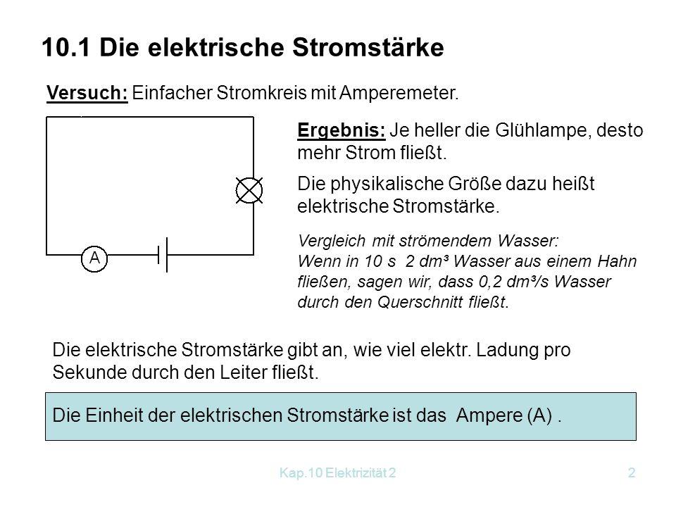 Kap.10 Elektrizität 22 10.1 Die elektrische Stromstärke Versuch: Einfacher Stromkreis mit Amperemeter. Ergebnis: Je heller die Glühlampe, desto mehr S