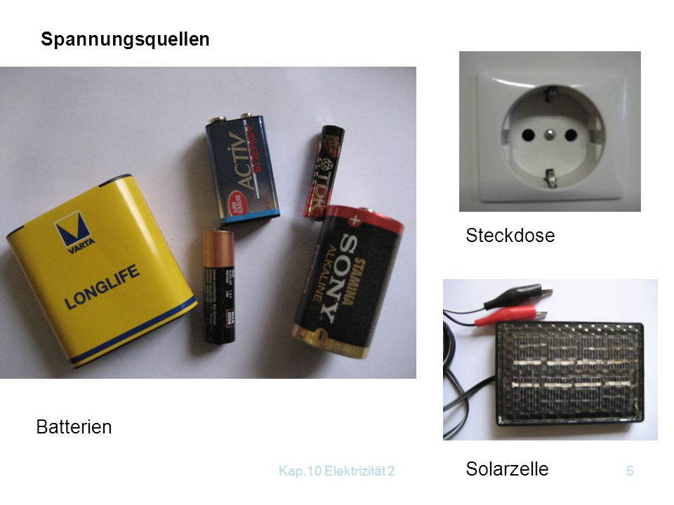 Kap.10 Elektrizität 25 Spannungsquellen Batterien Steckdose Solarzelle