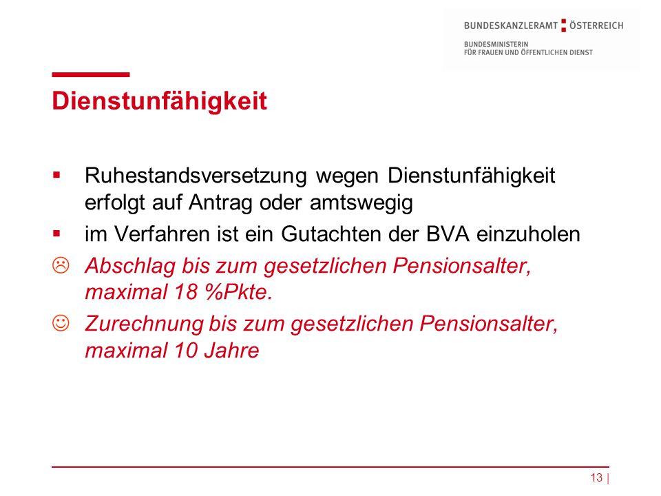 13 | Dienstunfähigkeit  Ruhestandsversetzung wegen Dienstunfähigkeit erfolgt auf Antrag oder amtswegig  im Verfahren ist ein Gutachten der BVA einzu