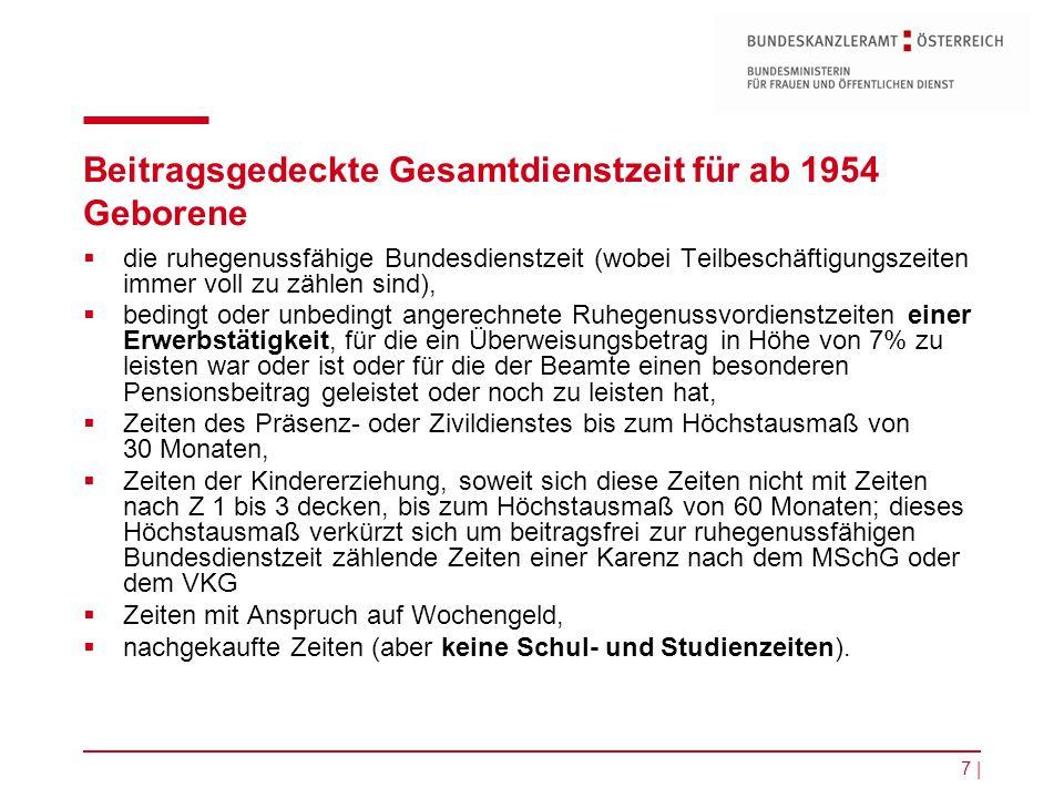 7 | Beitragsgedeckte Gesamtdienstzeit für ab 1954 Geborene  die ruhegenussfähige Bundesdienstzeit (wobei Teilbeschäftigungszeiten immer voll zu zähle