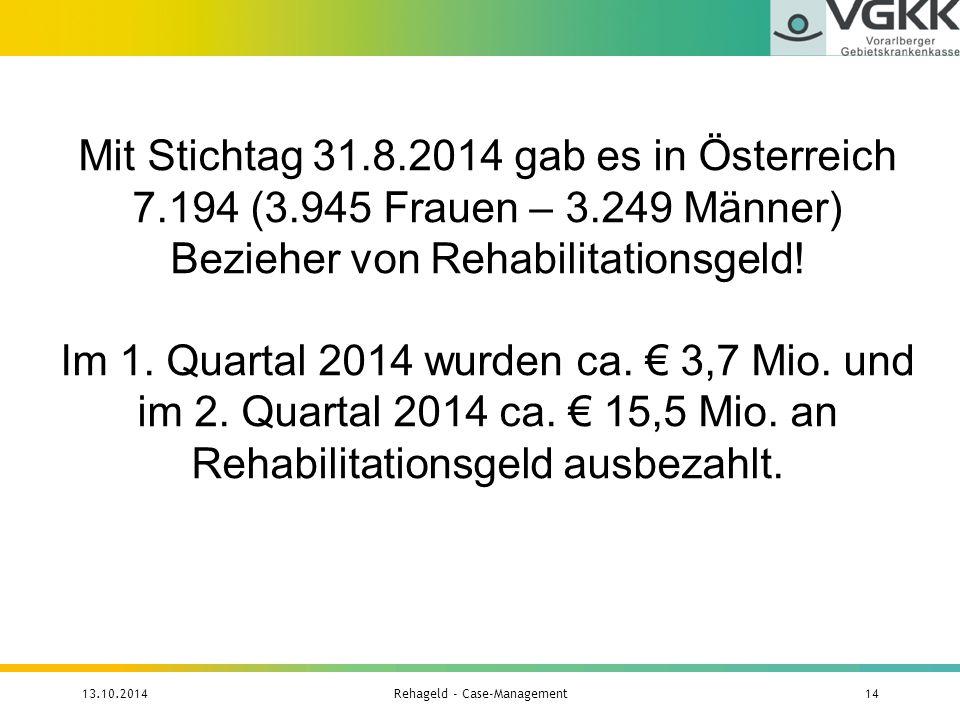 Mit Stichtag 31.8.2014 gab es in Österreich 7.194 (3.945 Frauen – 3.249 Männer) Bezieher von Rehabilitationsgeld! Im 1. Quartal 2014 wurden ca. € 3,7