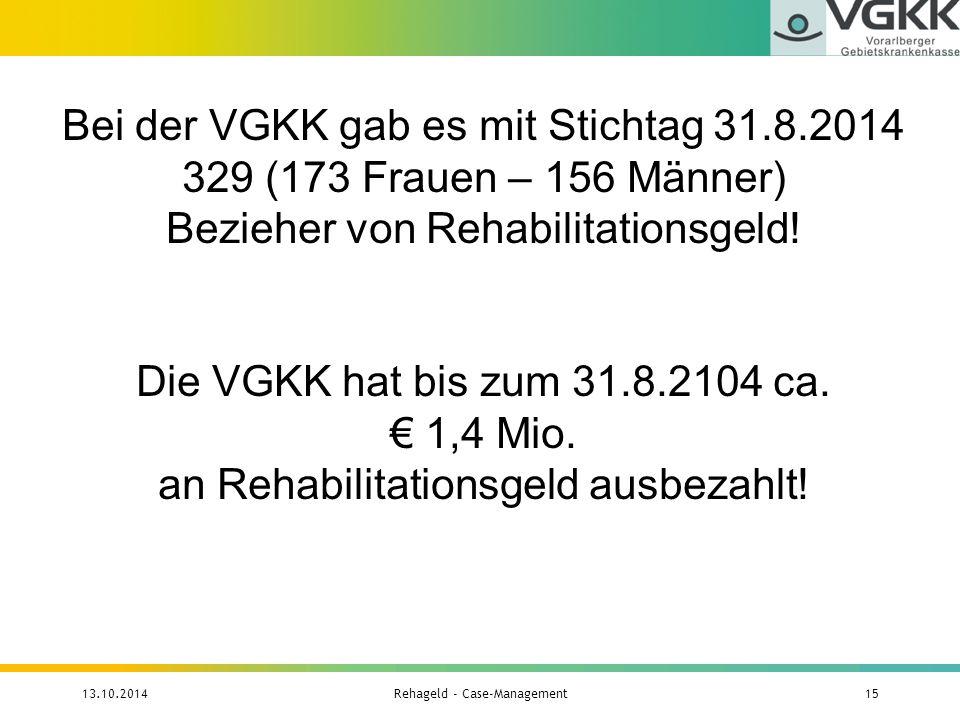 Bei der VGKK gab es mit Stichtag 31.8.2014 329 (173 Frauen – 156 Männer) Bezieher von Rehabilitationsgeld! Die VGKK hat bis zum 31.8.2104 ca. € 1,4 Mi