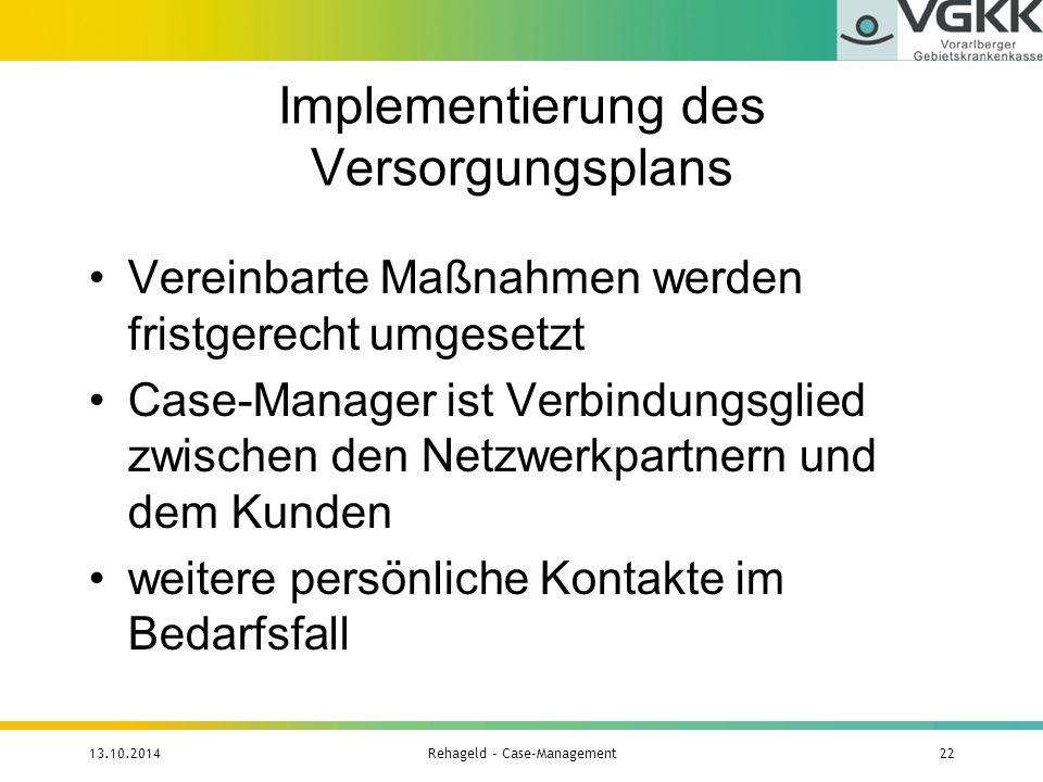 Implementierung des Versorgungsplans Vereinbarte Maßnahmen werden fristgerecht umgesetzt Case-Manager ist Verbindungsglied zwischen den Netzwerkpartne