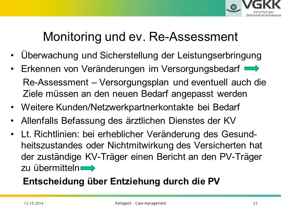 Monitoring und ev. Re-Assessment Überwachung und Sicherstellung der Leistungserbringung Erkennen von Veränderungen im Versorgungsbedarf Re-Assessment