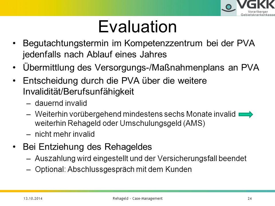 Evaluation Begutachtungstermin im Kompetenzzentrum bei der PVA jedenfalls nach Ablauf eines Jahres Übermittlung des Versorgungs-/Maßnahmenplans an PVA