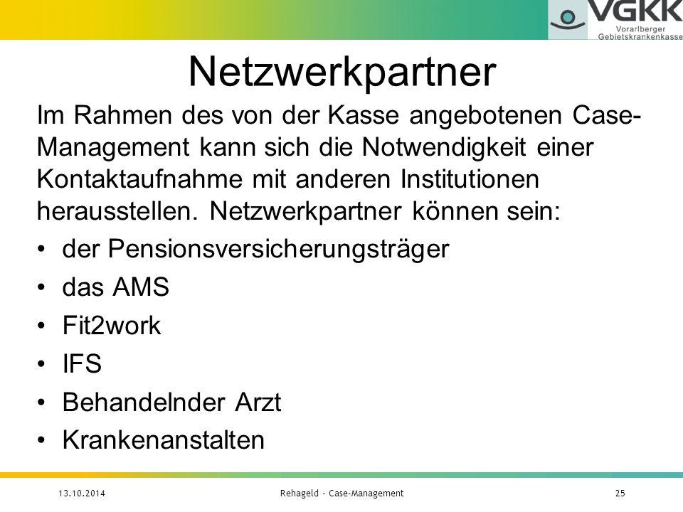 Netzwerkpartner Im Rahmen des von der Kasse angebotenen Case- Management kann sich die Notwendigkeit einer Kontaktaufnahme mit anderen Institutionen h