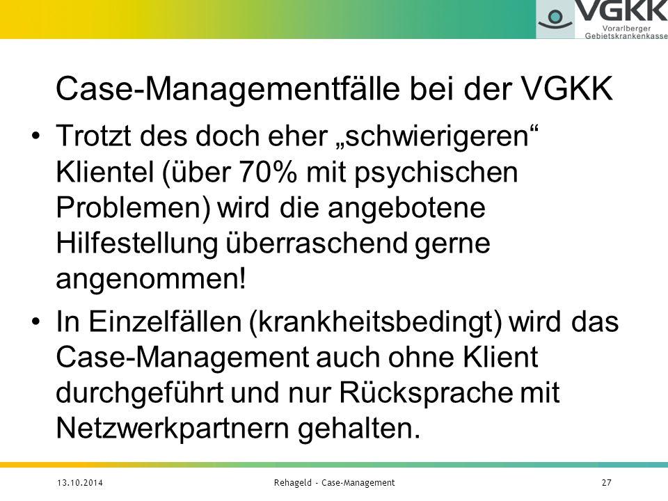 """Case-Managementfälle bei der VGKK Trotzt des doch eher """"schwierigeren"""" Klientel (über 70% mit psychischen Problemen) wird die angebotene Hilfestellung"""
