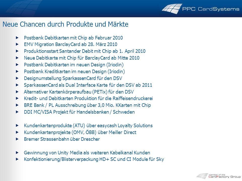 Neue Chancen durch Produkte und Märkte  Postbank Debitkarten mit Chip ab Februar 2010  EMV Migration BarclayCard ab 28.