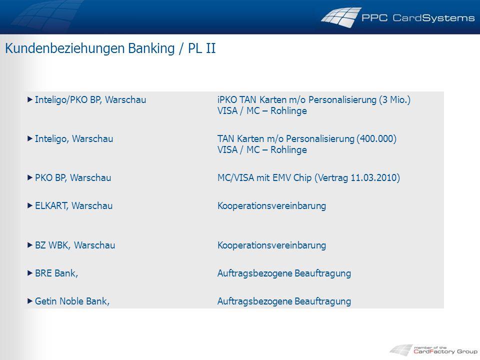 Kundenbeziehungen Banking / PL II  Inteligo/PKO BP, WarschauiPKO TAN Karten m/o Personalisierung (3 Mio.) VISA / MC – Rohlinge  Inteligo, WarschauTAN Karten m/o Personalisierung (400.000) VISA / MC – Rohlinge  PKO BP, WarschauMC/VISA mit EMV Chip (Vertrag 11.03.2010)  ELKART, WarschauKooperationsvereinbarung  BZ WBK, WarschauKooperationsvereinbarung  BRE Bank,Auftragsbezogene Beauftragung  Getin Noble Bank,Auftragsbezogene Beauftragung