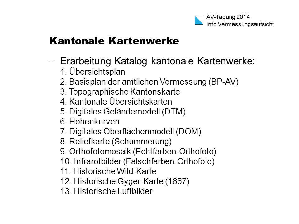 AV-Tagung 2014 Info Vermessungsaufsicht Kantonale Kartenwerke  Erarbeitung Katalog kantonale Kartenwerke: 1. Übersichtsplan 2. Basisplan der amtliche