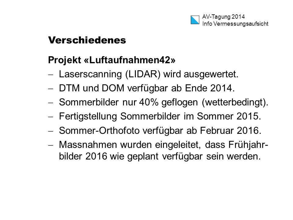 AV-Tagung 2014 Info Vermessungsaufsicht Verschiedenes Projekt «Luftaufnahmen42»  Laserscanning (LIDAR) wird ausgewertet.  DTM und DOM verfügbar ab E