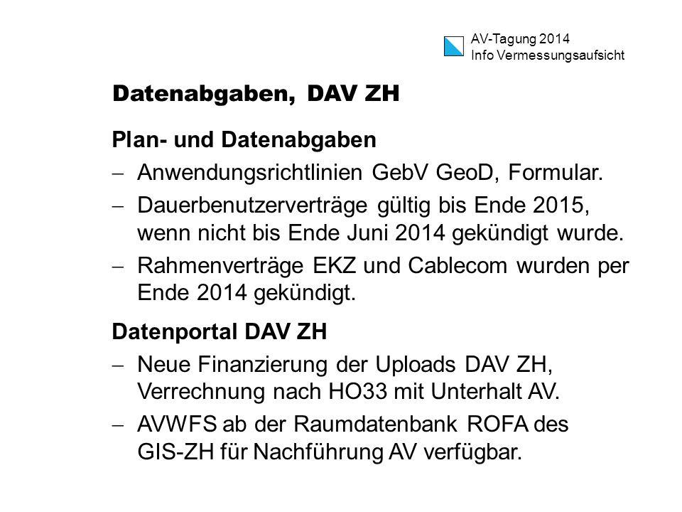 AV-Tagung 2014 Info Vermessungsaufsicht Datenabgaben, DAV ZH Plan- und Datenabgaben  Anwendungsrichtlinien GebV GeoD, Formular.  Dauerbenutzerverträ