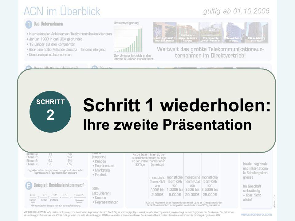 gültig ab 01.10.2006 100 ´4025€6% 6000€ Schritt 1 wiederholen: Ihre zweite Präsentation SCHRITT 2